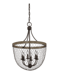 chicken wire farmhouse light pendant