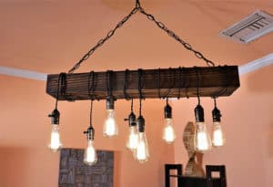 reclaimed wood farmhouse light chandelier