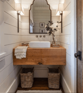 Shiplap White Farmhouse Bathroom Wood Plank Bathroom