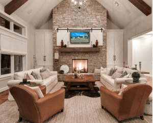 wood beams, rustic living room, farmhouse living room, white living room, neutral room