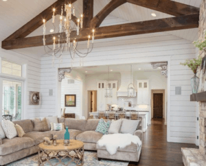 wood beams, rustic living room, farmhouse living room, white living room, neutral room, wood beam, shiplap