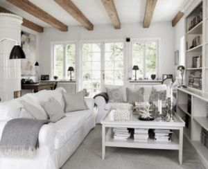 wood beams, rustic living room, farmhouse living room, white living room, neutral room, wood beams, white home decor, neutral home decor