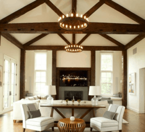 wood beams, rustic living room, farmhouse living room, white living room, neutral room, wood planks, wood beams, farmhouse chandelier