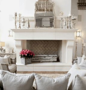 white farmhouse, white fireplace, white mantel