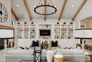 wood beams, rustic living room, farmhouse living room, white living room, neutral room, farmhouse clock, shiplap