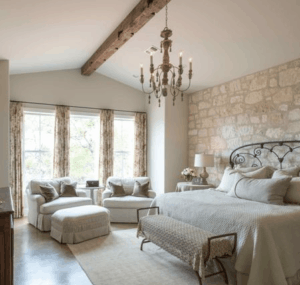 Farmhouse Master Bedroom Wood Beams Shabby Chic Bedroom
