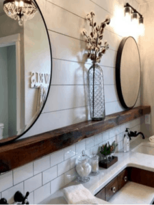 shiplap bathroom, farmhouse bathroom, rustic bathroom, subway tile