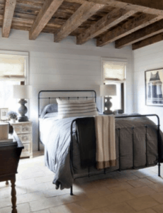 farmhouse master bedroom, wood beams, farmhouse bed, shiplap