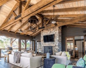 wood beams, rustic living room, farmhouse living room, white living room, neutral room, reclaimed wood, wood beams