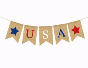 USA Banner Patriotic Banner Burlap Banner