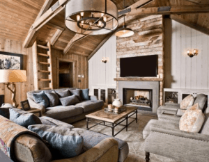 wood beams, rustic living room, farmhouse living room, white living room, neutral room, wood beams, rustic home, cabin