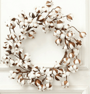 farmhouse wreath, cotton blossom wreath, cotton blossom home decor
