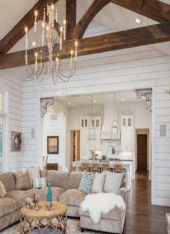 wood beam, shiplap living room, farmhouse chandelier