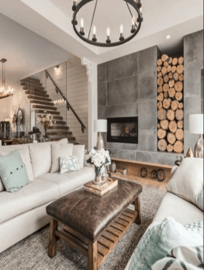 Look at that reclaimed wood wall. This collection of Rustic Living rooms will inspire you and bring out your inner interior designer. You will love the wood beams, farmhouse chandeliers, and shiplap walls