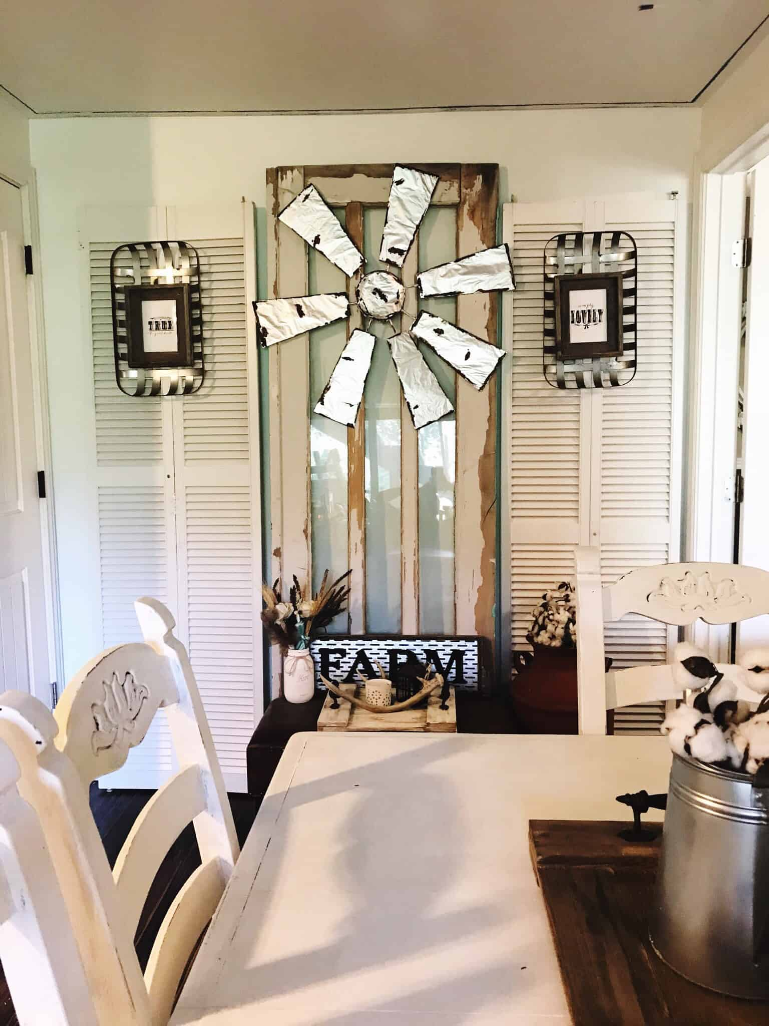 Farmhouse home decor, windmill decor, diy windmill