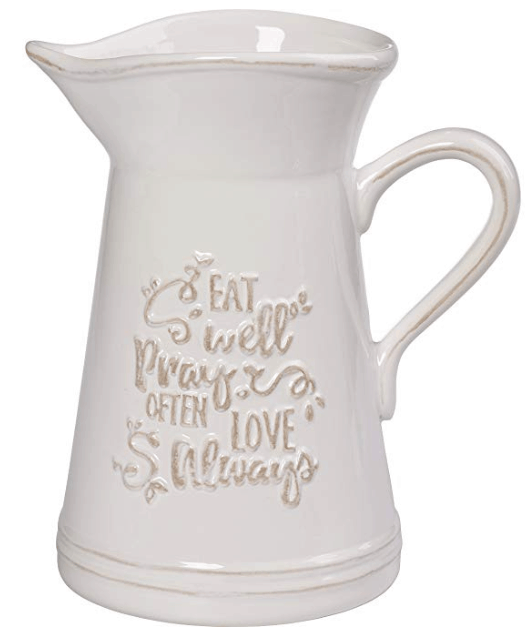 white farmhouse pitcher
