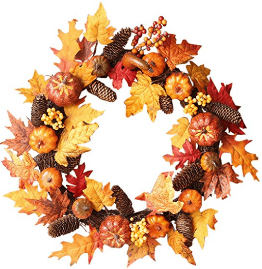fall wreath pumpkin wreath fall leaves fall home decor pinecone decor
