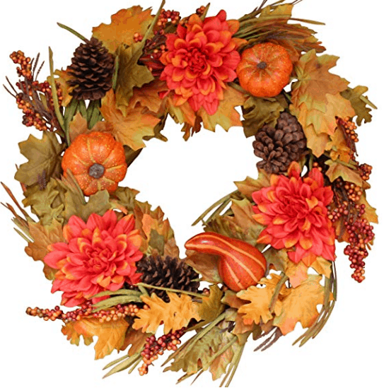 pumpkin wreath fall wreath fall leaves decor autumn home decor fall home