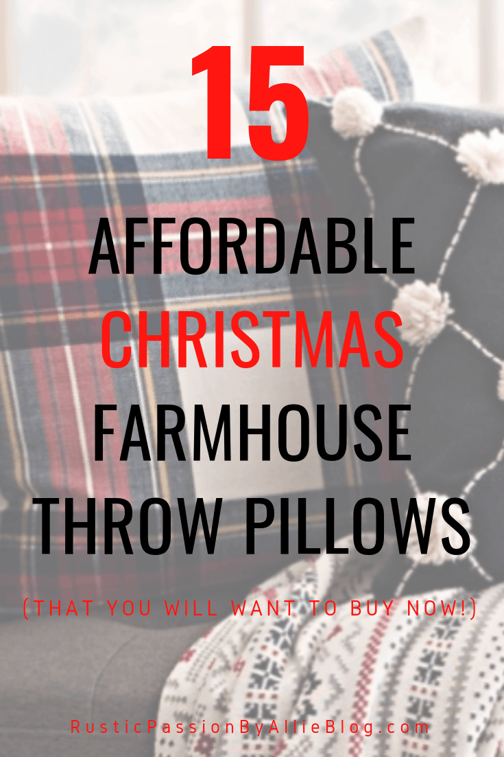 Farmhouse Throw Pillow - Christmas Throw Pillow - Red Throw Pillow - Farmhouse Christmas Pillows