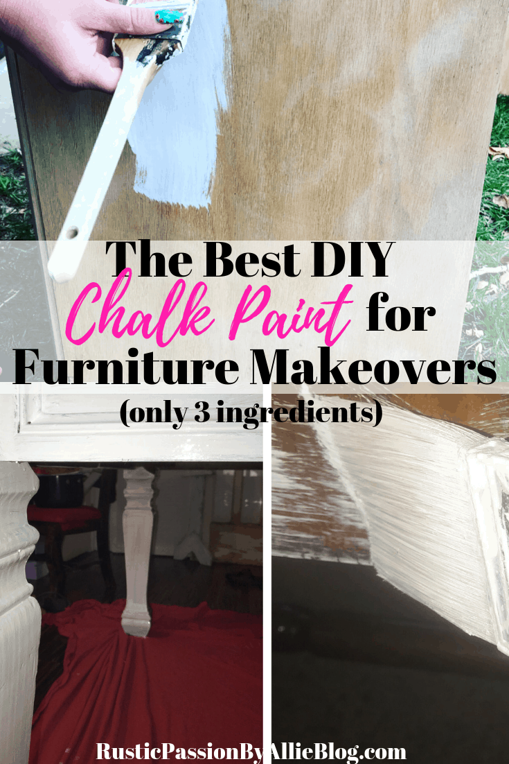 This is the best DIY chalkpaint recipe out there. It is perfect for furniture makeovers, and will make it easy enough that no sanding is involved. How to paint furniture with Chalkpaint the easy way. DIY Chalkpaint and painting it the easiest way possible.