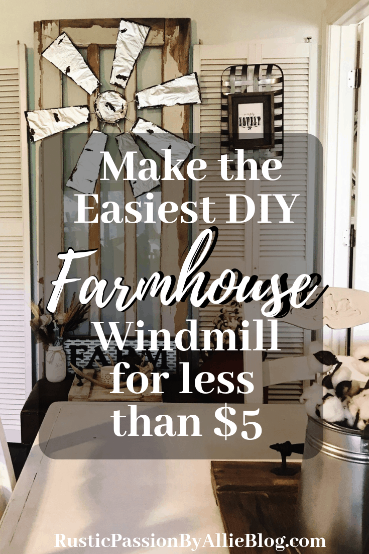 The easiest DIY windmill for less than $5. If you love Farmhouse Home Decor and diy crafts you will enjoy making this cute Farmhouse Windmill. Get inspired by this Joanna Gaines lookalike home decor.