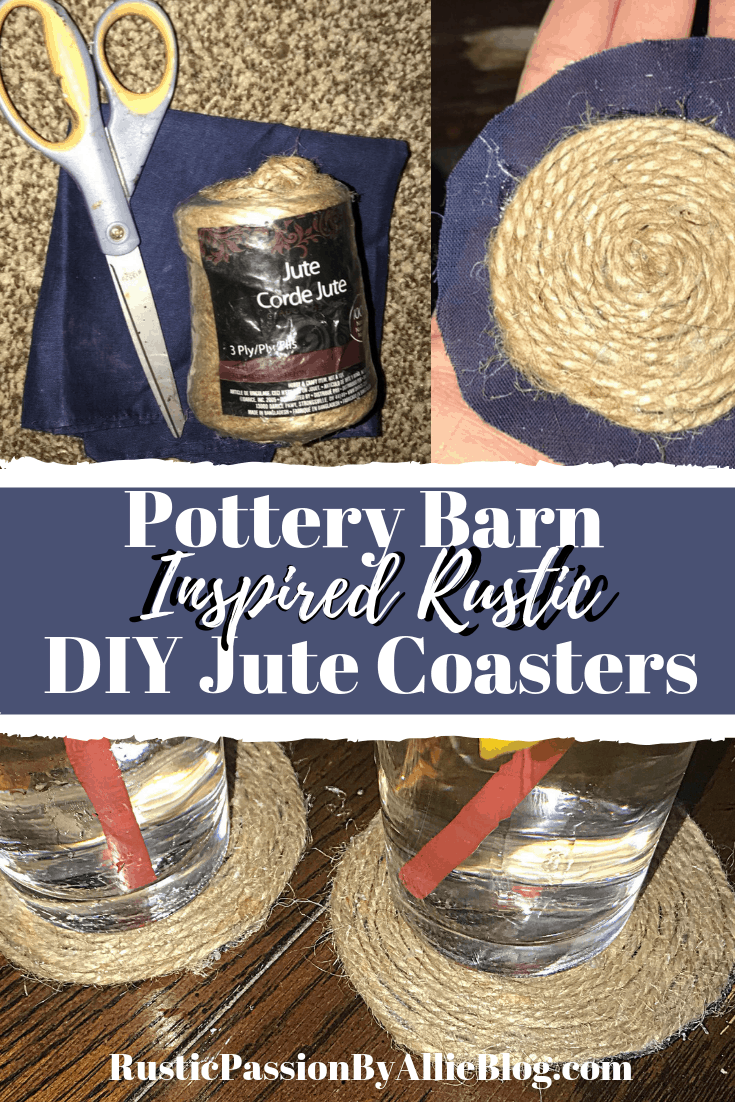 These adorable Pottery Barn inspired jute DIY coasters are so fun. They add the perfect touch of Rustic and Farmhouse design. You be able to make cute coasters for cheap.