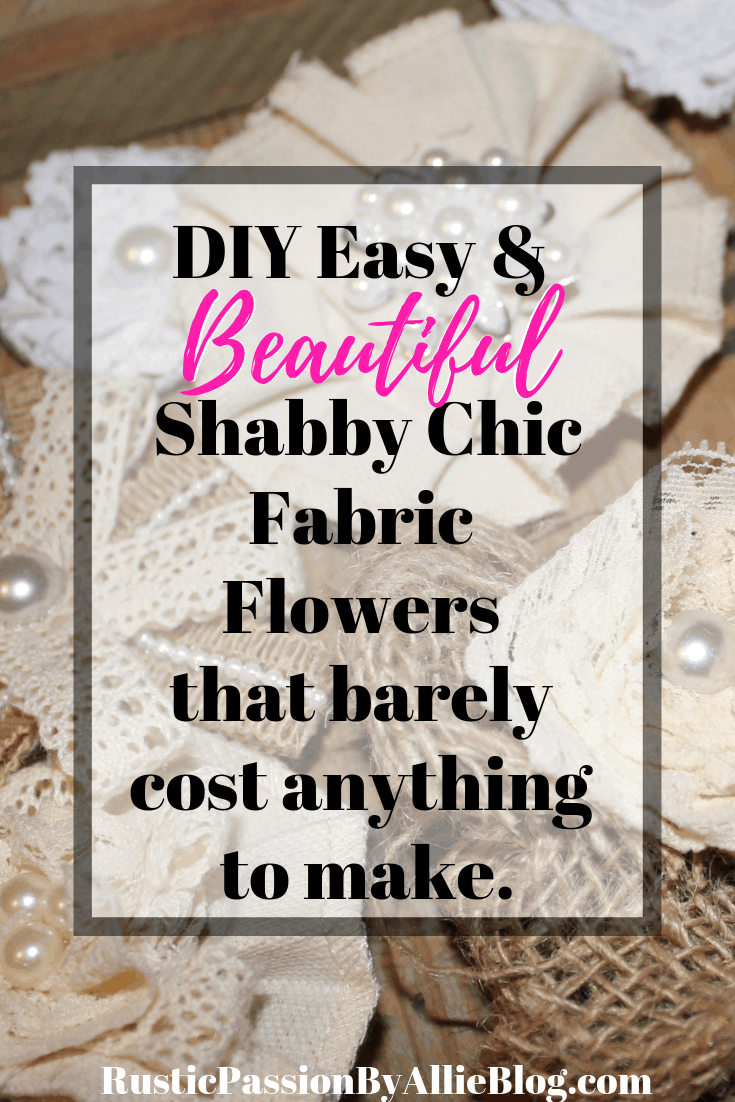Learn how to make these adorable shabby chic fabric flowers. They are made from jute, lace, and burlap ribbons. They are so cute and go on anything. They are perfect for little girl diy headbands, wedding decor or wedding bouquets.