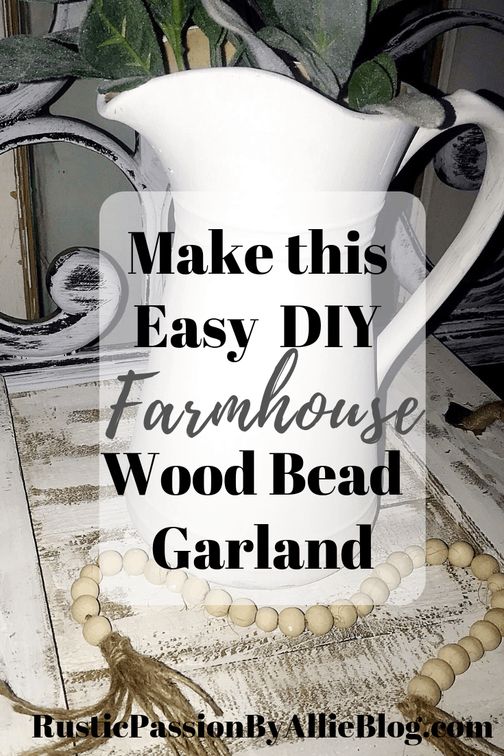 Learn How To Make a Farmhouse DIY Wood Bead Garland with tassels. It's the easiest affordable Modern Farmhouse Home Decor project. You will love displaying this decoration in your Joanna Gaines inspired home. It adds the perfect touch of neutral rustic decor. #joannagaines ##modernfarmhouse #woodbeadgarland #diyhomedecor