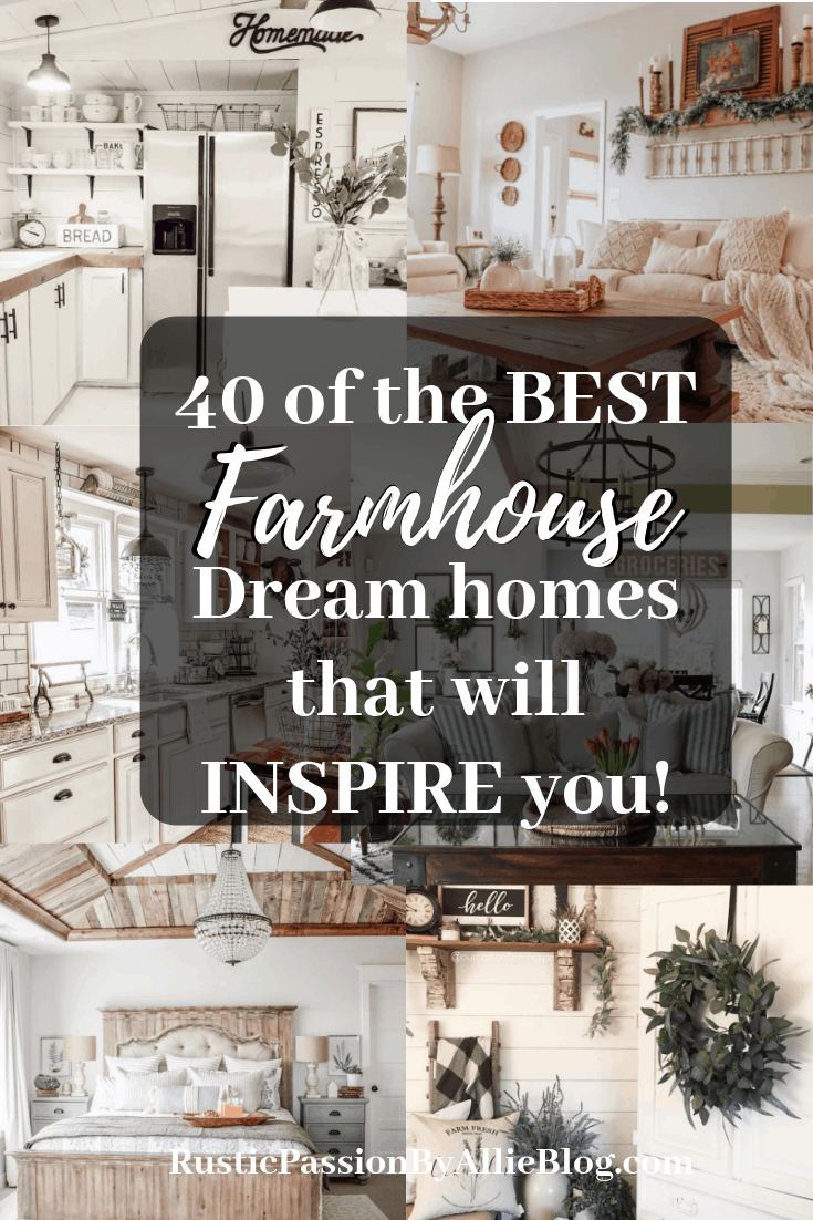 6 white farmhouse homes with text overlay - 40 of the best farmhouse dream homes that will inspire you