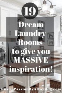 White big laundry room with wood and white island text overlay - 19 dream laundry rooms to give you massive inspiration