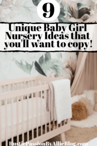 floral wallpaper in light pink nursery with pink crib text overlay - 9 unique baby girl nursery ideas that you'll want to copy.