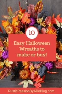 halloween wreath with text overlay- 10 easy halloween wreaths to make or buy