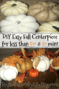 white, burlap, orange small pumpkin centerpiece with text overlay- diy easy fall centerpiece for less than $10 and 30 min.