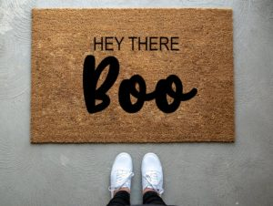 hey there boo fall door mat