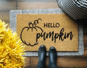 hello pumpkin fall door mat