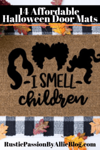 i smell children hocus pocus fall door mat with text overlay - 14 affordable halloween door mats