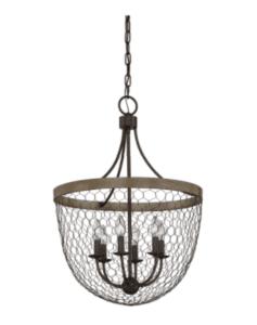 chicken wire farmhouse light pendant
