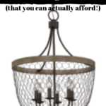 chicken wire light pendant with text overlay - 23 Joanna Gaines inspired farmhouse light fixtures that you can actually afford.