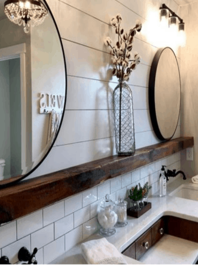 farmhouse bathroom, shiplap, shiplap bathroom, subway tile, cotton blossom home decor