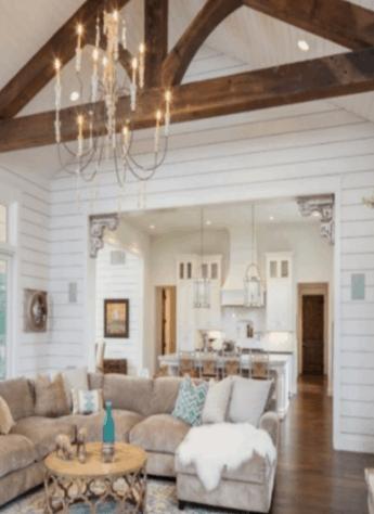 wood beam, shiplap living room, farmhouse chandelier