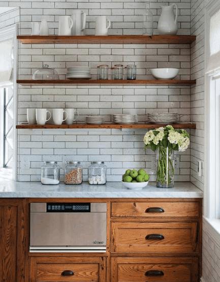 farmhouse kitchen, subway tile, open shelf, white kitchen, rustic kitchen