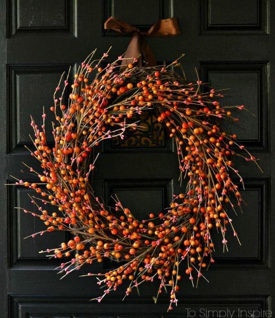 orange diy wreath fall wreath fall home decor