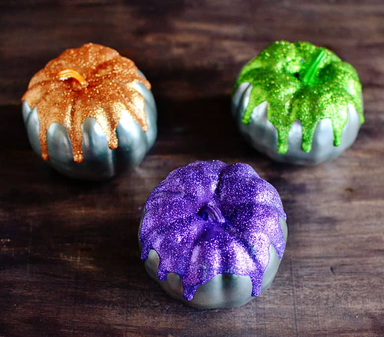 diy pumpkin decor glitter pumpkin