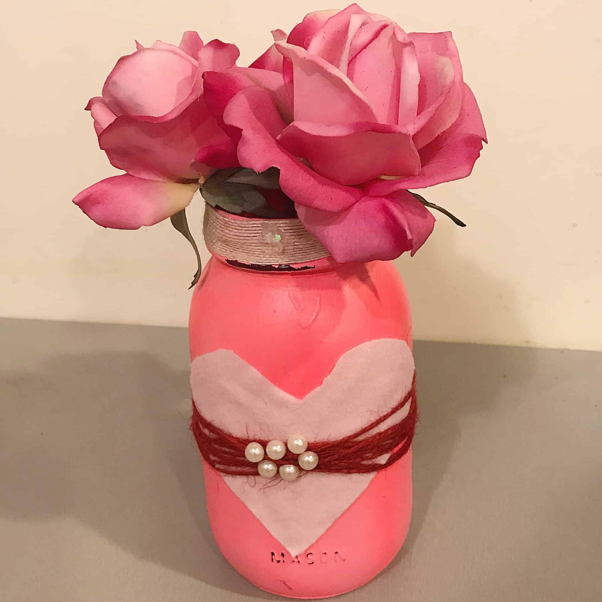 DIY Valentine's Day Mason Jar Centerpiece