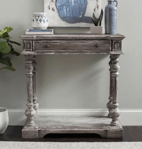 These gorgeous entryway tables are the perfect style design of industrial and rustic tables. They look great with a large mirror above and spacious drawers and storage. I love functional furniture that makes a statement.