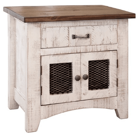 This one of a kind farmhouse nightstand is what dreams are made of. The neutral white and reclaimed wood is amazing.