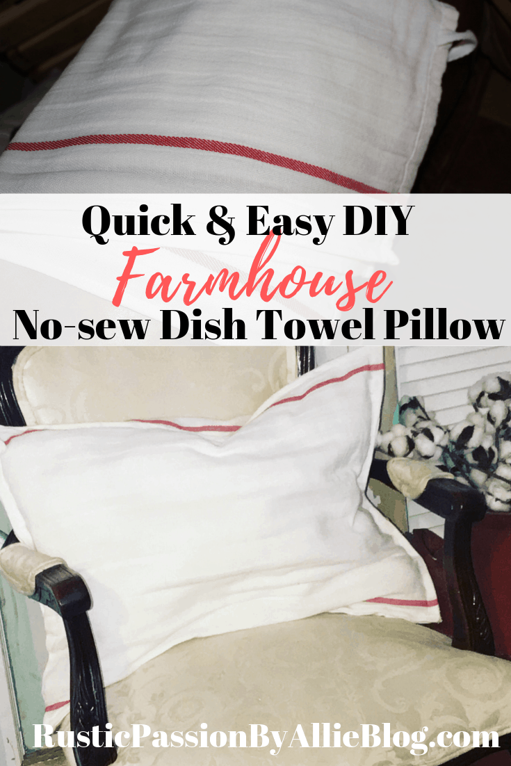 Learn how to make this easy no-sew Farmhouse dish towel pillow. You will be able to make it with a hot glue gun in less than 5 minutes. DIY Farmhouse home decor are a favorite craft of mine.