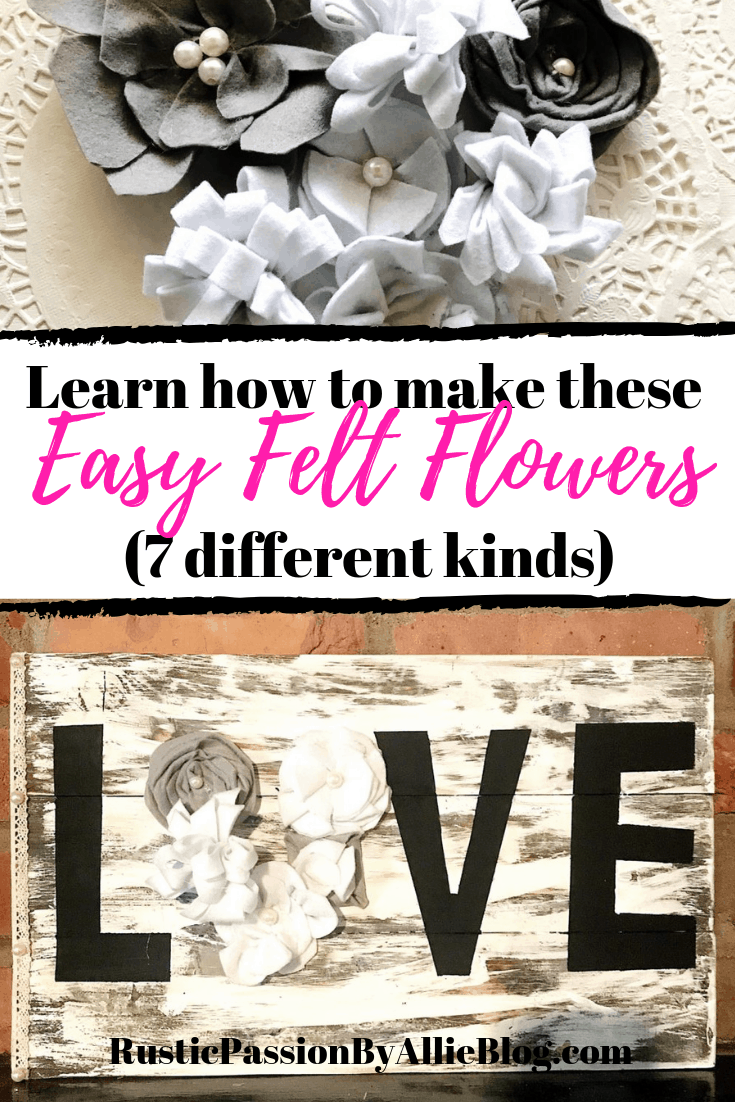 These different felt flowers are so quick and easy to make. Felt flowers can be used as an accent decoration on so many things. I often use them on headbands, in wedding bouquets, centerpieces, vintage books. And so much more. Read this blog post to find the cutest fabric felt flowers that only take a few minutes to make. #diyfeltflowers #feltcrafts #diyfeltcrafts