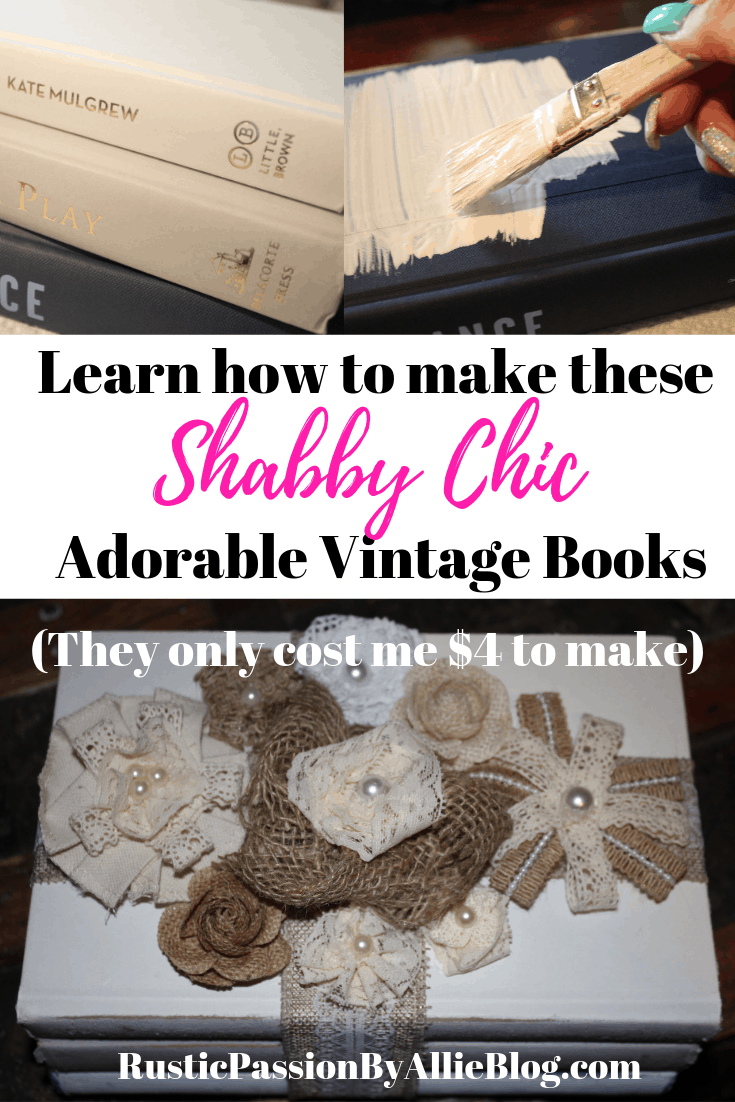Learn how to make these Vintage Shabby Chic white books. They are so fun and are the cutest affordable craft. It will only take you a few minutes to make and you will love these antique painted books.