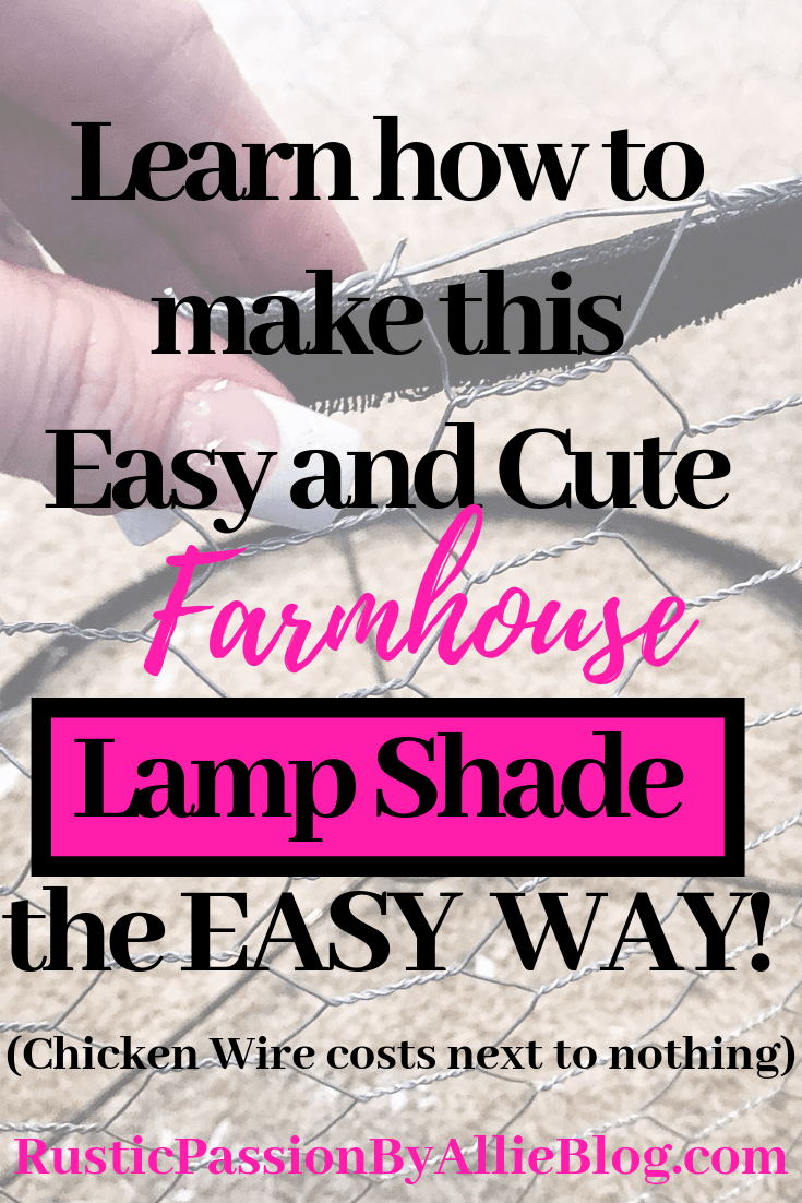 Chick Wire Lamp Shade with text overlap - Learn how to make this easy and cute Farmhouse Lampshade the easy way.